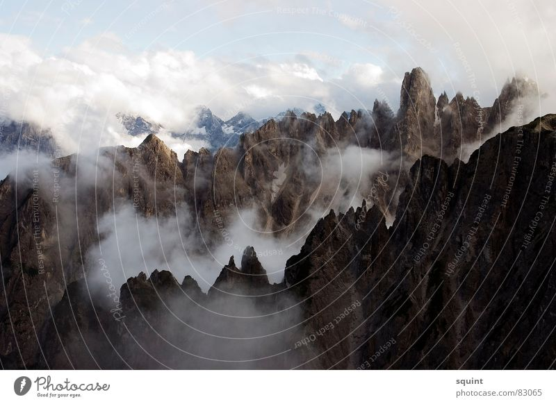 Clouds Mountain Fog Peak Go up Federal State of Tyrol South Tyrol