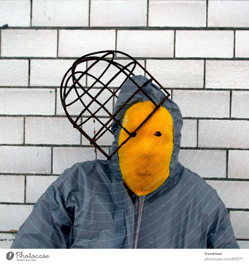 grau™ - with hat Gray Yellow Gray-yellow Suit Red Rubber Art Stupid Futile Hazard-free Crazy Funny Joy Square Arts and crafts  froodmat Mask Surrealism Abstract