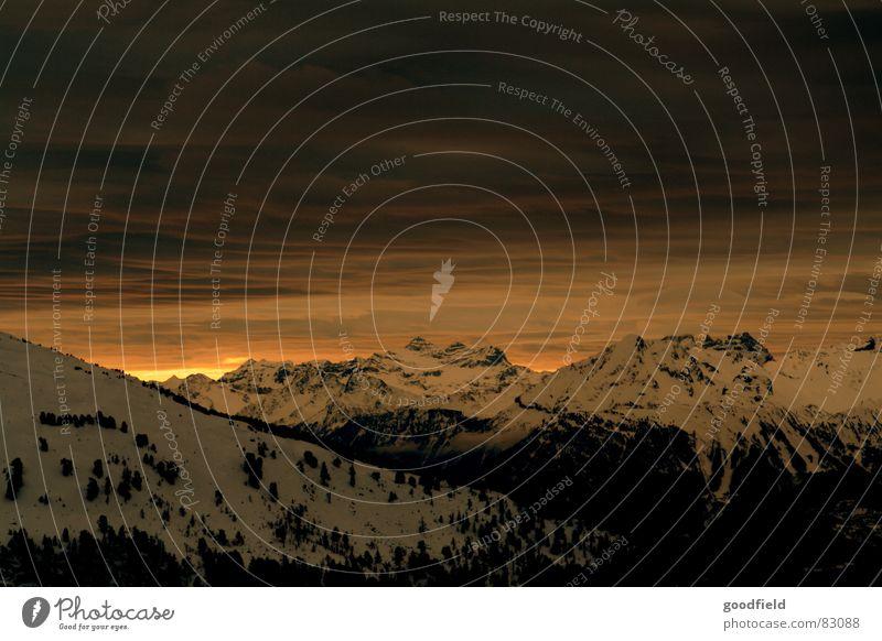 Sun Winter Snow Mountain Switzerland Dusk Mountain range Canton Wallis