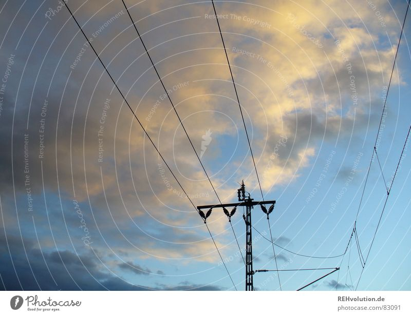Sky Clouds Dark Line Transport Railroad Energy industry Electricity Technology Railroad tracks Electricity pylon Dusk Transmission lines High voltage power line