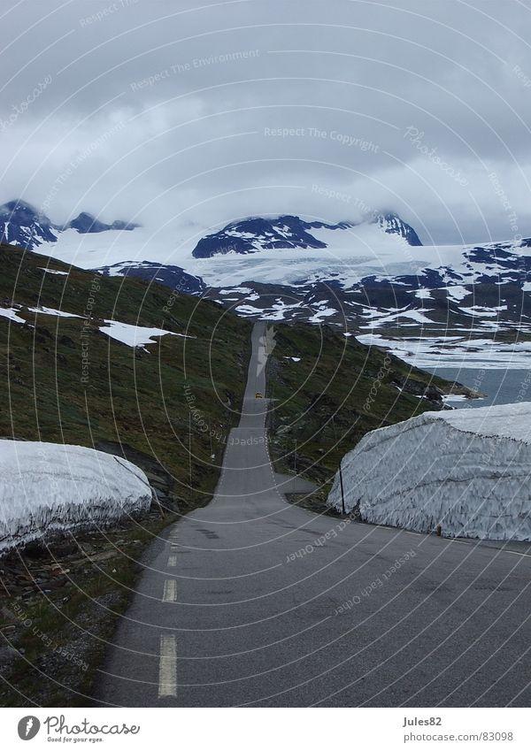 Summer Street Snow Mountain Ice Asphalt Hill Norway Glacier Scandinavia Approach road