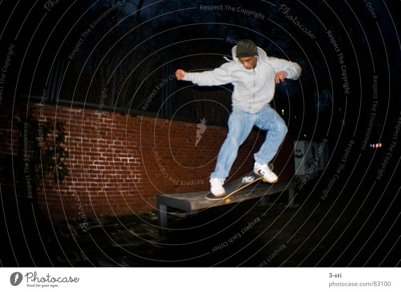 Youth (Young adults) Vacation & Travel Joy Dark Sports Style Leisure and hobbies Action Young man Skateboarding To enjoy Skateboard Lust Enthusiasm Elbe Funsport