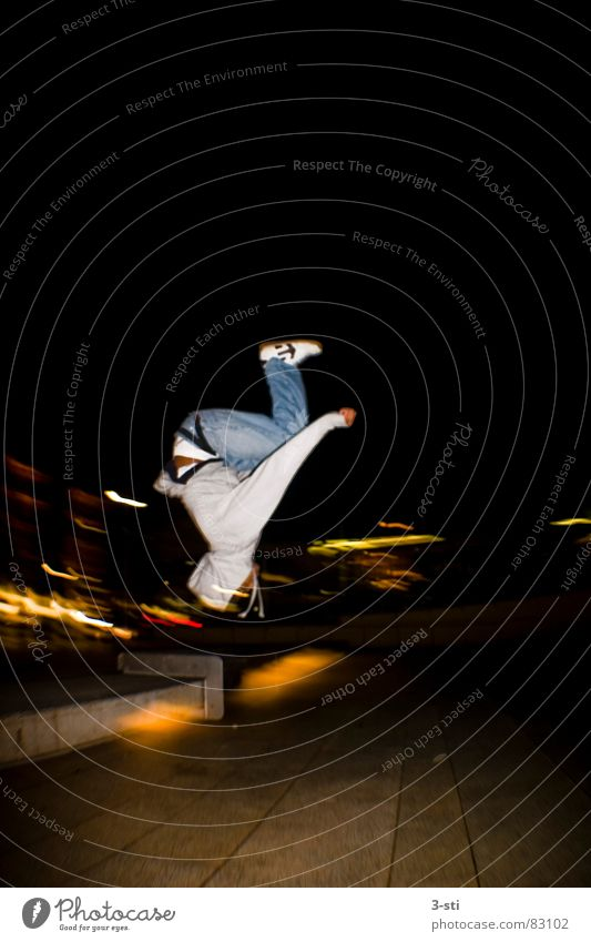 Salto Ben Back somersault Collision Skateboarding Night Dark Leisure and hobbies Sports Style Fisheye Wide angle Lust Joy Vacation & Travel Young man Backwards