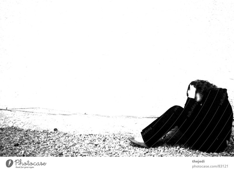 alone Woman black white wide screen gravel Wall (barrier)
