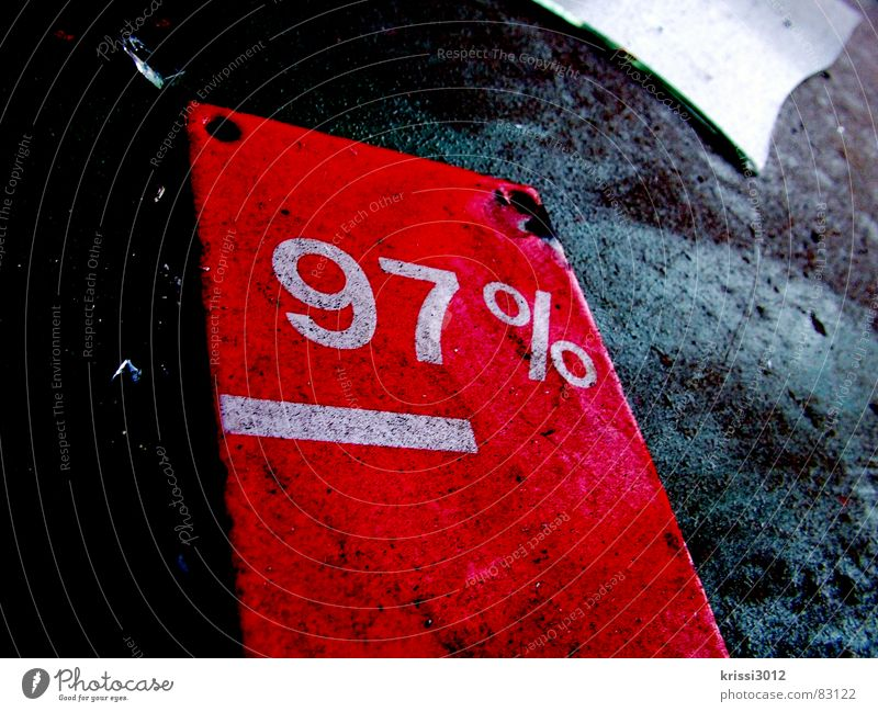 radically reduced Sell Closing-down sale Financial Crisis Price reduction Offer Red Percent sign Dirty Trash Shard 7 9 Value Scrap metal Things Costs