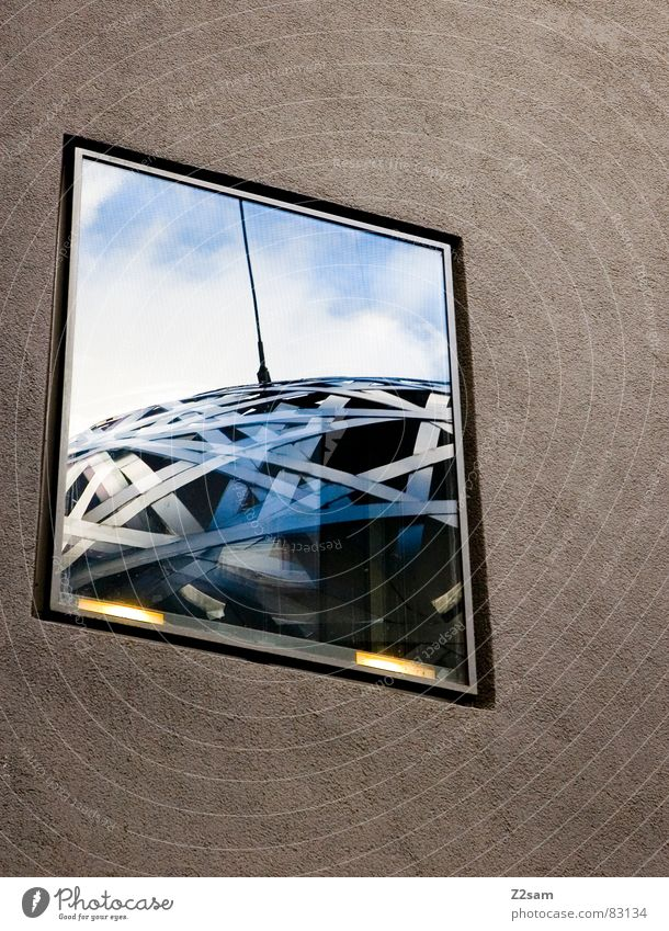 Sky Clouds Wall (building) Above Window Art Modern Round Net Munich Mirror Sphere Steel Geometry Window pane Antenna