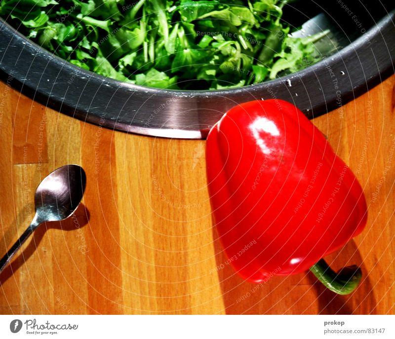 Nutrition Food Healthy Healthy Eating Cooking & Baking Kitchen Vegetable Noble Lettuce Spoon Pepper Vegetarian diet Verdant Prepare the food High-grade steel