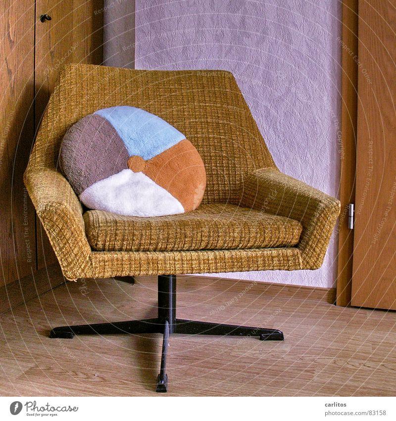 Beautiful Crazy Round Kitsch Living or residing Furniture Armchair Seventies Sixties Cushion Laminate Plush Curry powder Tasteless