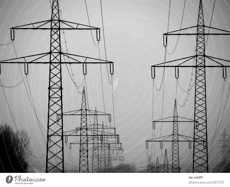 Winter Dark Cold Gray Tall Energy industry Electricity Multiple Cable Row Many Electricity pylon