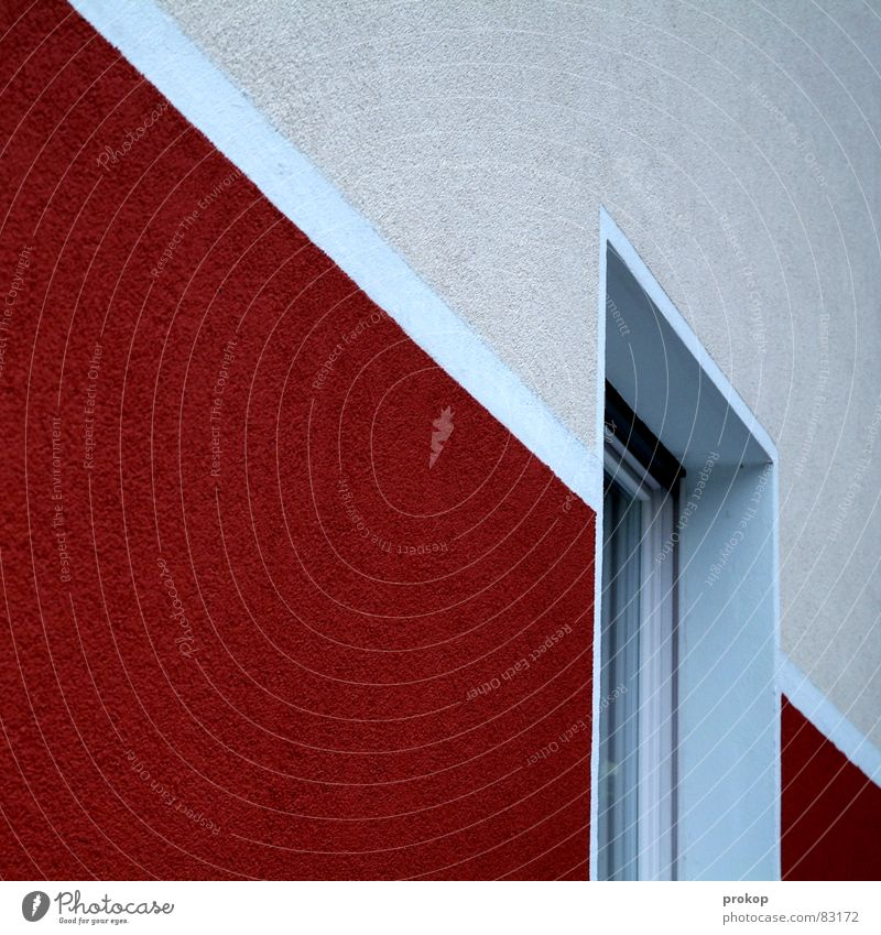 fries House (Residential Structure) Wall (building) Graphic Geometry Clean Pure Arrangement Diagonal Window Stripe Red Wall (barrier) Cleansed Offensive