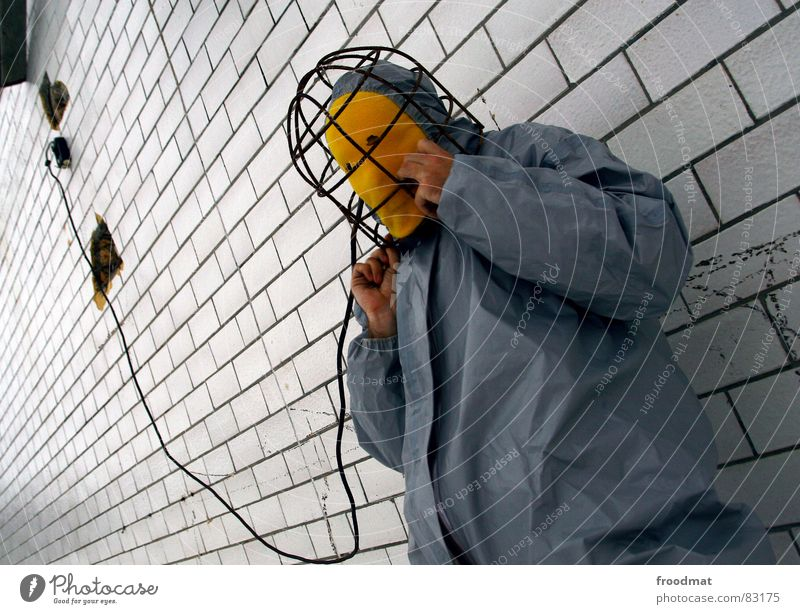 grau™ - electroshock blues Gray Yellow Gray-yellow Suit Red Rubber Art Stupid Futile Hazard-free Crazy Funny Joy Electronic Electricity Wall (building) Diagonal