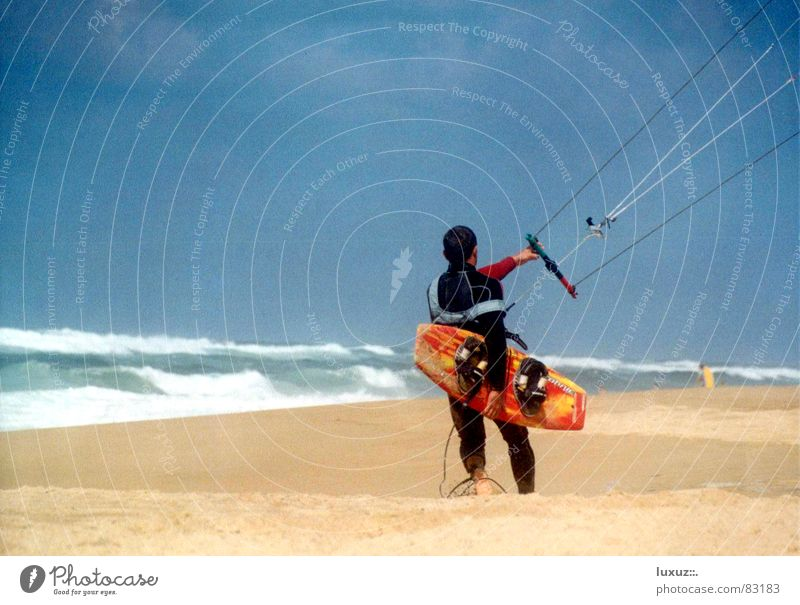 side wind Kiting Kiter Beach Ocean Waves Neoprene Barefoot Aquatics Sports Playing line Rope four-lines board Wooden board Beginning off we go Wind Sand
