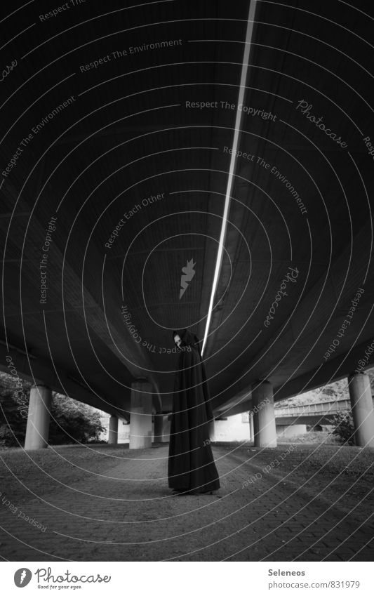 the dark side Human being 1 Highway Overpass Tunnel Bridge Coat Dark Column Escape Vanishing point Concrete Black & white photo Exterior shot Copy Space top