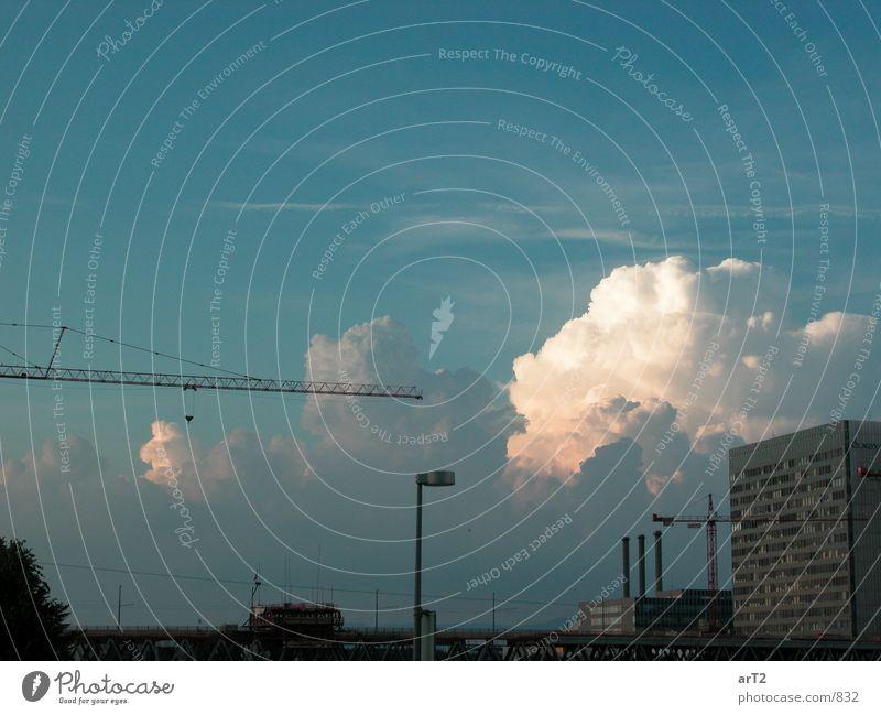Cumulus City Clouds Crane Building Far-off places Horizon Industry