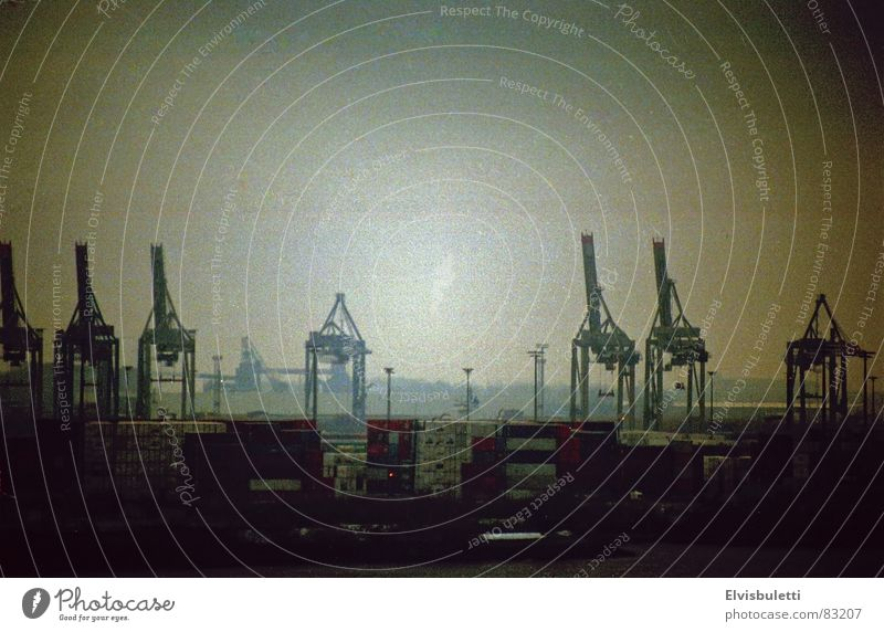 Dark Sadness Fog Gloomy Harbour Jetty Crane Elbe Vail Dock Bad weather Shroud of fog Dockside crane Berth