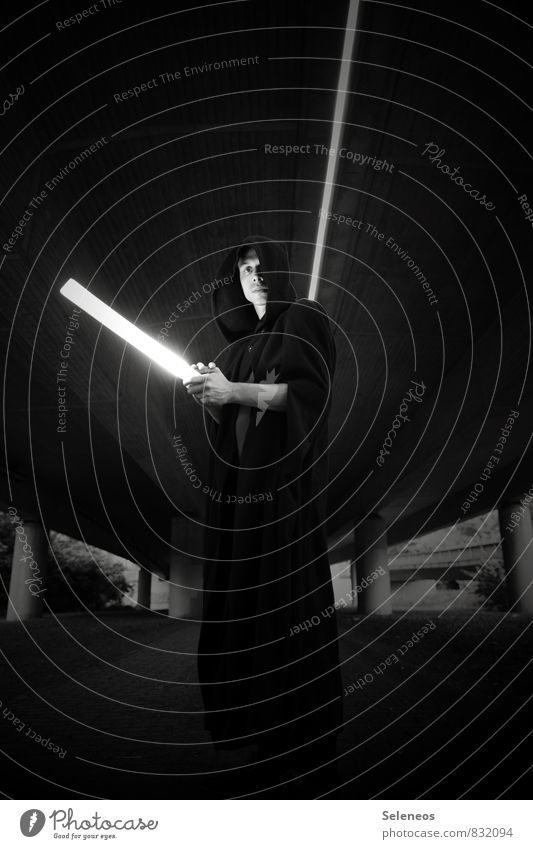like the moth the light Human being Masculine Man Adults 1 Bridge Tunnel Overpass Cape Hooded (clothing) Laser sword Cold Fantasy literature Black & white photo