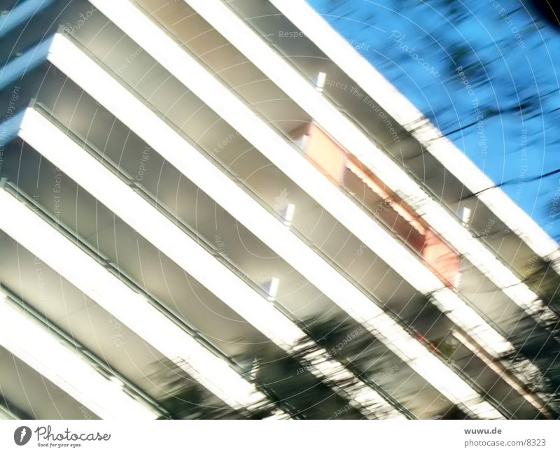 White Blue House (Residential Structure) High-rise Stripe Story Grid Photographic technology Sun blind