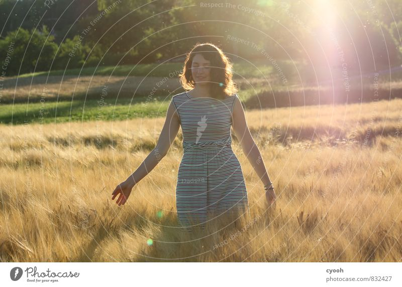 Youth (Young adults) Beautiful Summer Relaxation Young woman Calm Yellow Warmth Movement Feminine Natural Happy Freedom Bright Dream Contentment