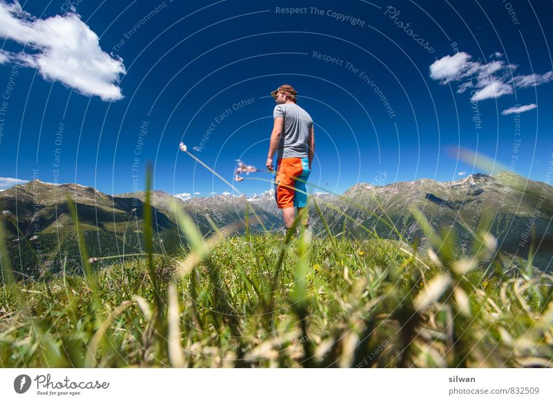 Human being Sky Vacation & Travel Youth (Young adults) Blue Green Summer Calm Landscape Clouds 18 - 30 years Young man Adults Mountain Warmth Grass