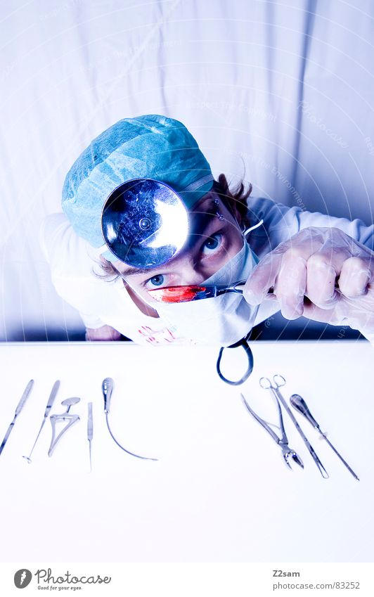 Crazy Health care Doctor Mirror Hospital Evil Tool Blood Musical instrument Cut Gloves Mask Operation Surgeon Protective clothing Scalpel