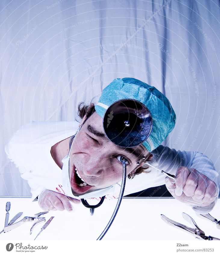 Eyes Health care Doctor Mirror Hospital Tool Blood Musical instrument Accident Cut Gloves Mask Operation Harm Profession Face