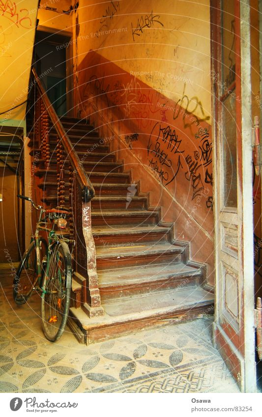 Old Wall (building) Wood Wall (barrier) Building Bicycle Door Stairs Construction site Tile Gate Derelict Story Manmade structures Entrance