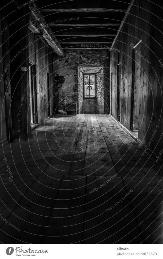 corridor Vacation & Travel Window Door Creepy Historic Cold Gloomy Dry Gray Black Calm Disciplined Loneliness Past Transience Engadine Val Müstair Floorboards