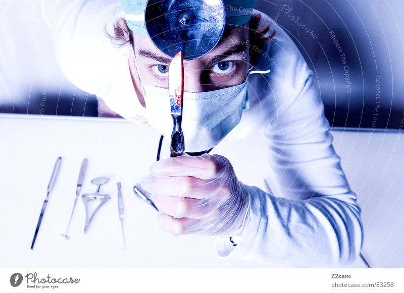 "doctor ""kuddl"" - scalpel 5 Scalpel Doctor Hospital Surgeon Health care Mask Mirror Gloves Operation Cut Tool sterile protective hood stetoscope clean Blood"