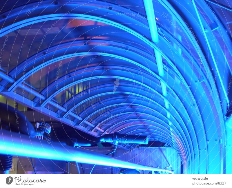 blue tunnel Neon light Light Tunnel Night Acrylic Bicycle Reflection Architecture Blue Iron-pipe Glass