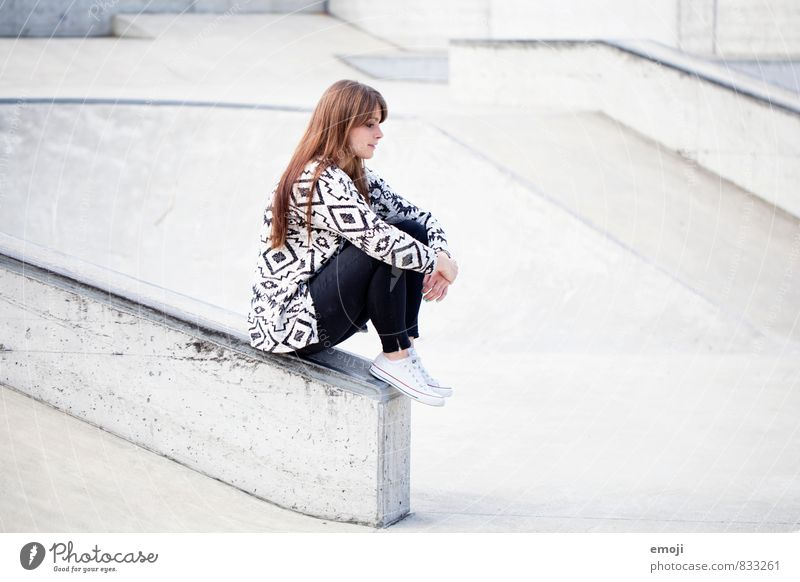 pattern Feminine Young woman Youth (Young adults) 1 Human being 18 - 30 years Adults Fashion Hip & trendy Town Gray Sit Meditative Colour photo Subdued colour