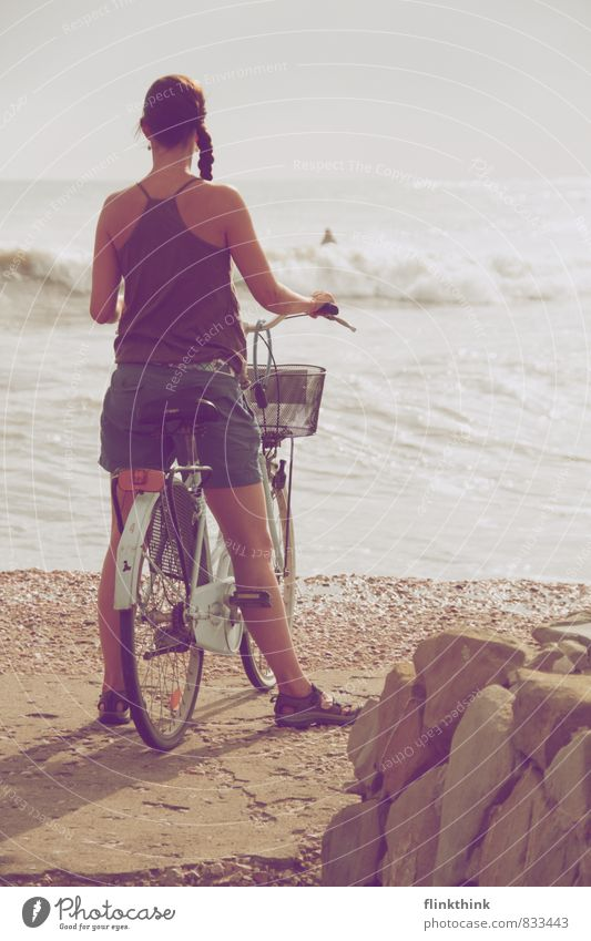 Human being Woman Sky Child Youth (Young adults) Water Summer Ocean Beach 18 - 30 years Adults Feminine Bicycle 13 - 18 years Stand Wait
