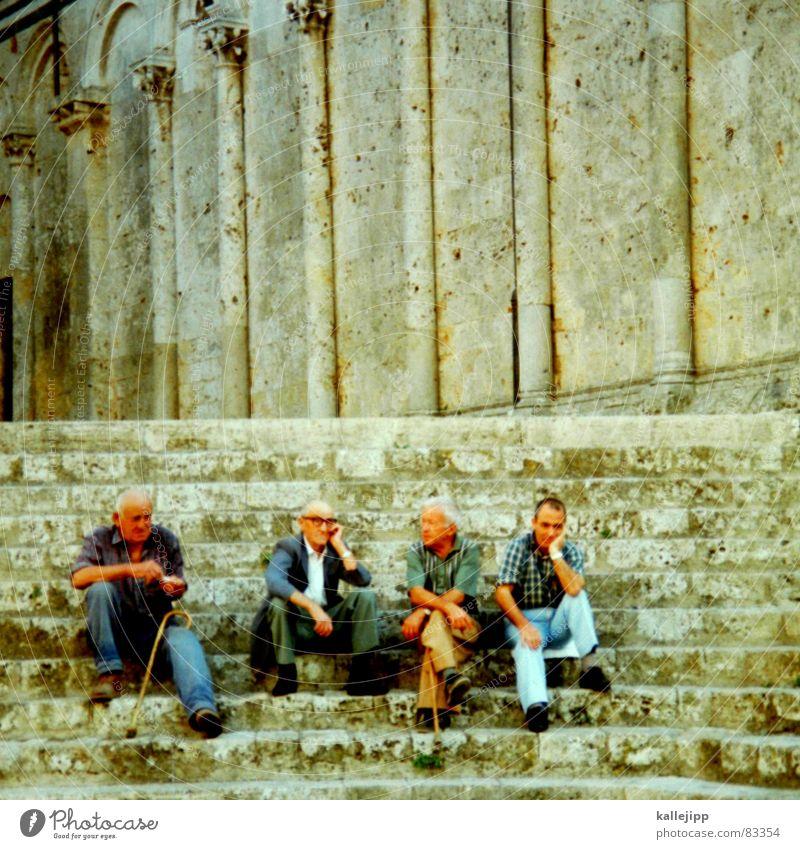 Man Senior citizen Relaxation To talk Friendship Human being Wait Sit Stairs Break Time Historic Greece Ancient Siesta Old town
