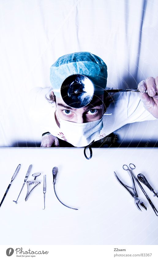Eyes Health care Doctor Mirror Hospital Tool Gloves Mask Operation Attack Pair of pliers Right ahead Clamp Surgeon Scalpel