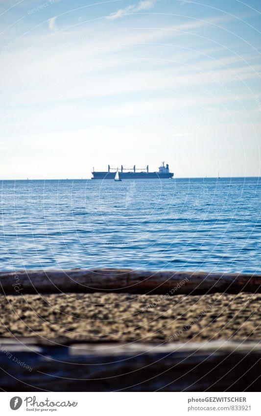 cargo ship Navigation Container ship Loneliness Experience Colour Horizon Vacation & Travel Far-off places Earth Cargo-ship Sailboat Ocean Beach Colour photo