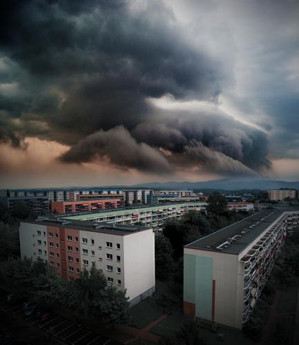 blockbuster Nature Elements Air Storm clouds Horizon Climate change Weather Bad weather Gale Thunder and lightning Bautzen Germany Small Town Outskirts