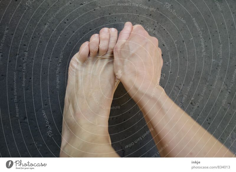 Human being Woman Hand Calm Adults Life Emotions Feet Simple Protection To hold on Pain Barefoot Grasp Toes Wound