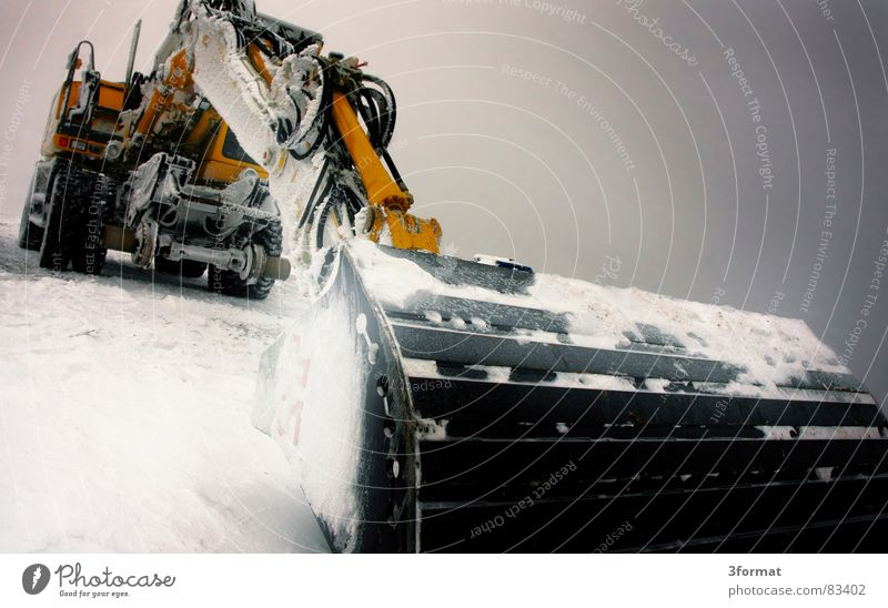 Winter Cold Snow Ice Power Force Might Construction site Machinery Motionless Hard Extreme Excavator Colossus Shovel