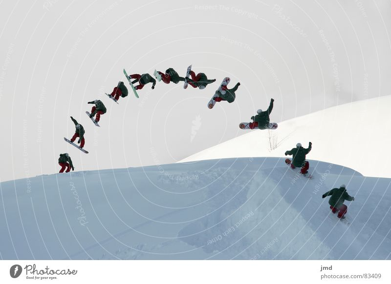 Youth (Young adults) Joy Winter Snow Style Sports Jump Leisure and hobbies Fog Speed Tall Switzerland Departure Row Upward Double exposure