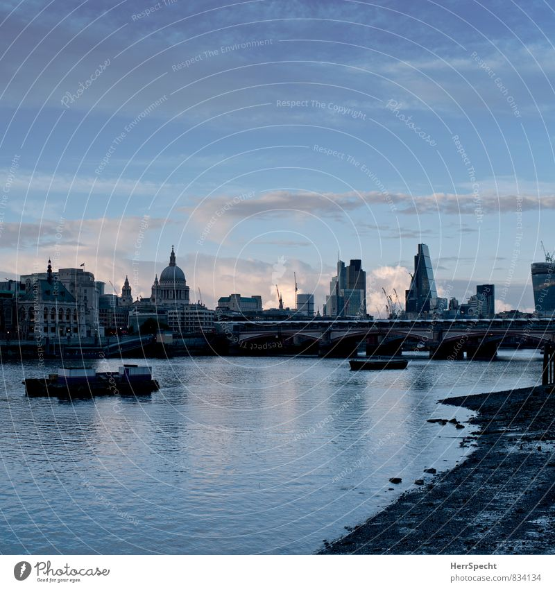 London Skyline Clouds Beautiful weather River bank Themse Themse bridges Capital city Port City House (Residential Structure) High-rise Bank building Church