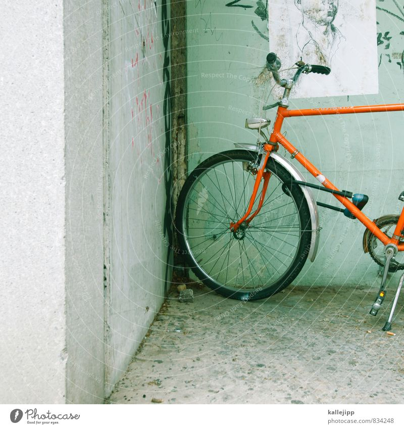 the round in the corner Head 1 Human being Transport Cycling Bicycle Graffiti Stand Corner Orange Drawing Handlebars Guard Bicycle light Bicycle tyre