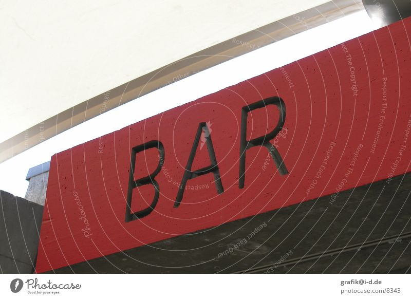 Red Above Signs and labeling Concrete Characters Bar Sign Diagonal Typography