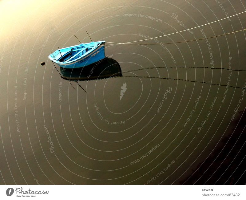 in the morning in the harbour Lake Dark Ocean Watercraft Wood Small Cyan Turquoise Characteristic Physics Fishing (Angle) Fishing boat Fisherman Drop anchor