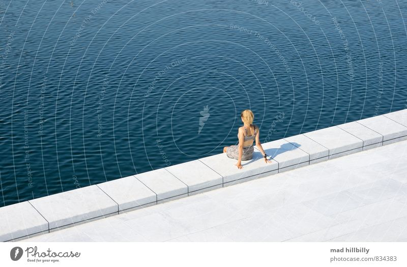 Relaxed Joy Happy Feminine Young woman Youth (Young adults) 1 Human being 18 - 30 years Adults Nature Summer Beautiful weather Port City Harbour Wall (barrier)