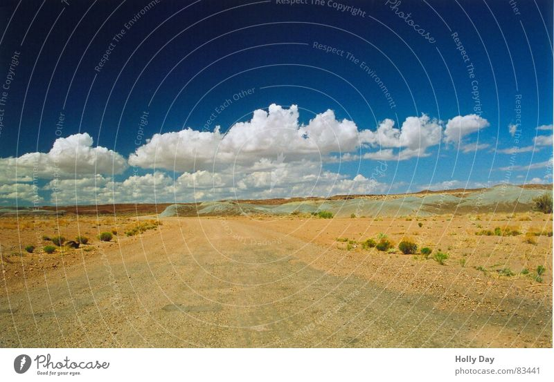 Sky Blue Summer Vacation & Travel Clouds Loneliness Far-off places Street Lanes & trails Sand Line USA Bushes Travel photography End Desert