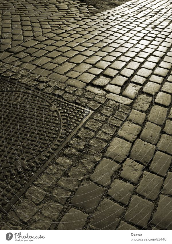 cobblestones Pavement Structures and shapes Gully Granite Steel Seam Approach road Reflection Road traffic Freeway Country road Alley Street Asphalt