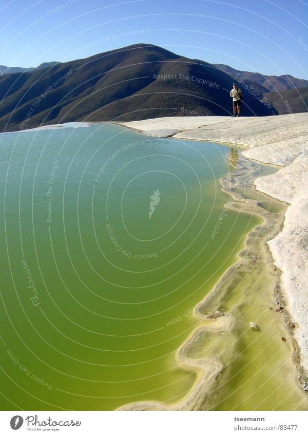 Acid bath? Calm Green Sky Mexico Stone Minerals Water mexico hierve agua Mountain blue mountains hill hills Waterfall