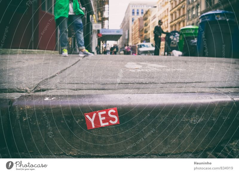 yes Vacation & Travel Human being Masculine Spring New York City USA Downtown Building Pedestrian Sidewalk Curbside Footpath Vehicle Sneakers Trash container