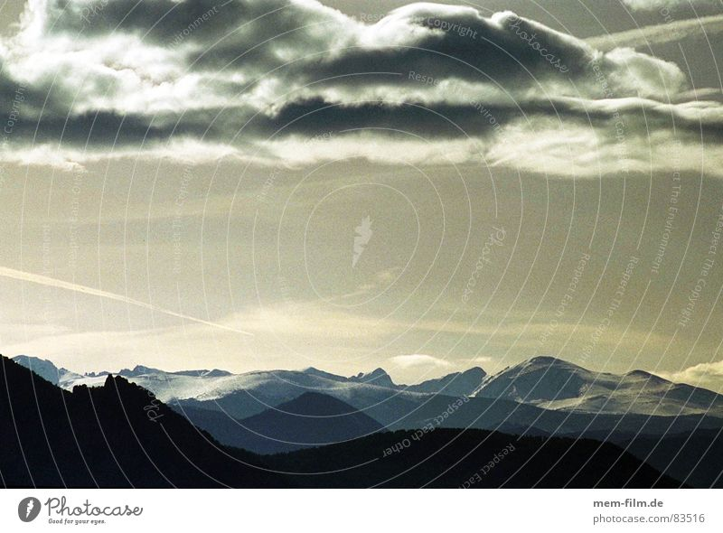 Sky Clouds Snow Mountain Ice USA Americas Come Glacier Mountain range Mountain ridge Rocky Mountains
