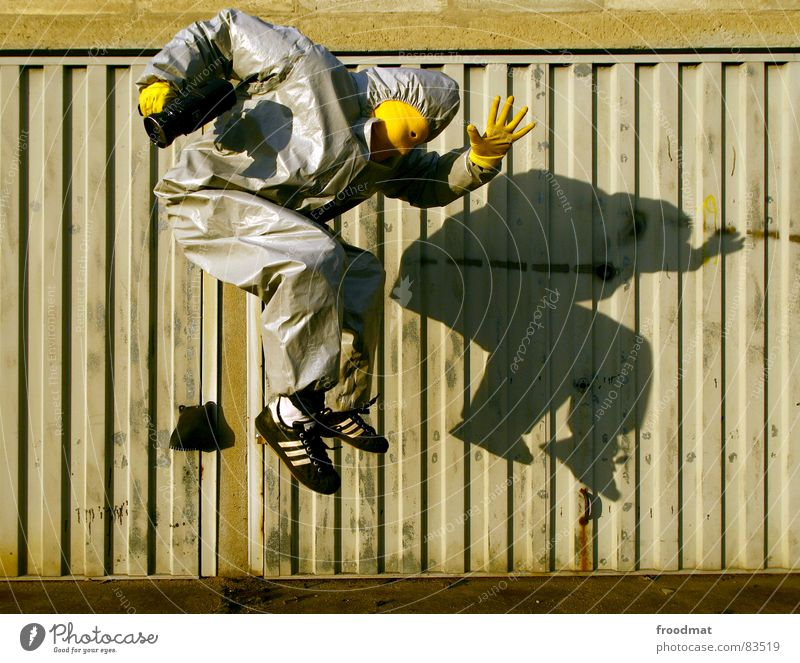 Joy Yellow Jump Gray Art Funny Flying Crazy Mask Gate Suit Stupid Surrealism Garage Video Rubber
