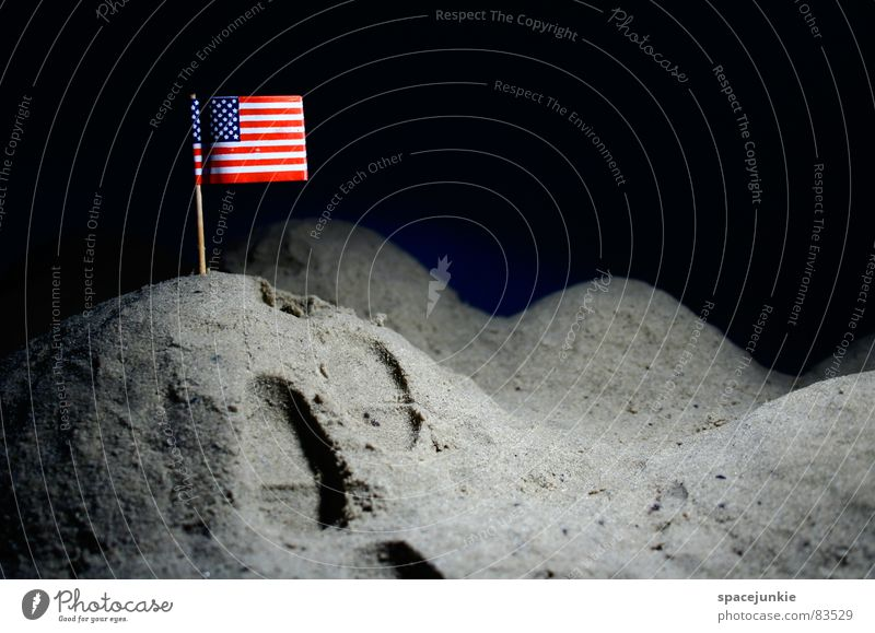 On the moon Lunar landscape Americas Flag Moon landing Hill Volcanic crater Dark Footprint Astronaut USA Pile up Joy Universe American flag Tracks height